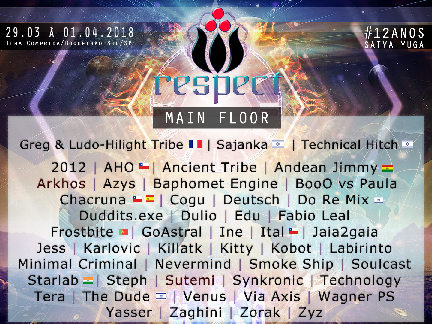 Line Up – Main Floor – Respect Festival 2018